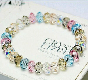Crystal-Multicolored-Faceted-Loose-beads-Stretch-Bracelet-Bangle-Woman-New-Gift