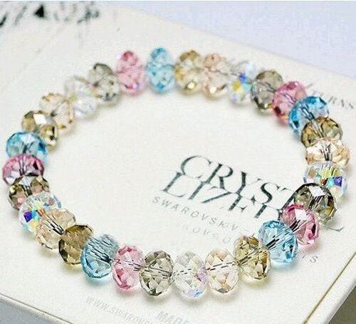 Crystal Multicolored Faceted Loose beads Stretch Bracelet  Bangle Woman New Gift