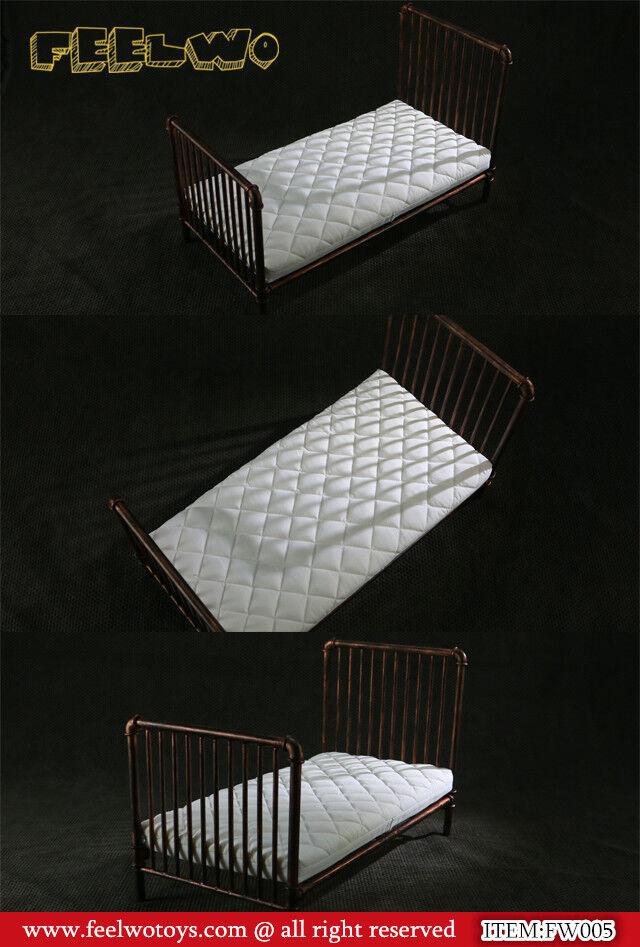 PO 6 Scale FEELWOTOYS 1 6 Metal Bed + + + WHITE Mattress 994165