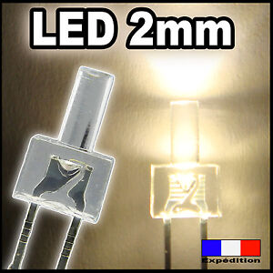 305# 10 à 100pcs --  LED Blanc chaud 2mm canon long - warm white tower long