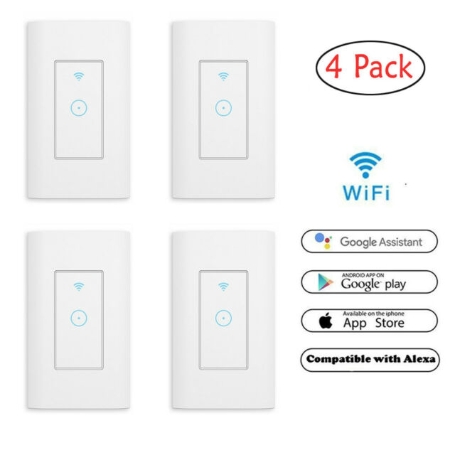 4 Pack Smart WIFI Wall Switch Works with Alexa Google Home IFTTT  Tuya/Smartlife