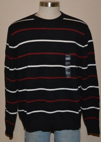ST JOHN/'S BAY Black Red Cotton Striped Pullover Crewneck Sweater Men/'s XXL NWT