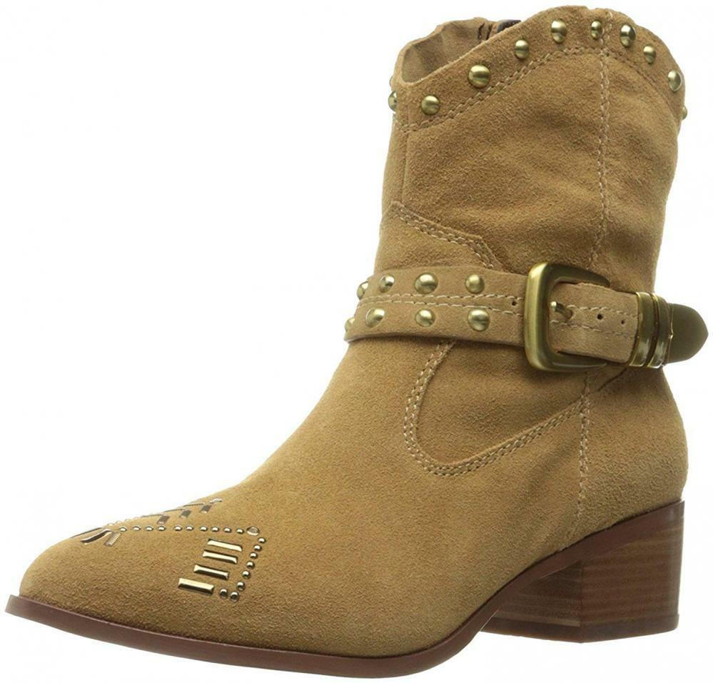 BCBGeneration Womens lokki Suede Pointed Toe Ankle Cowboy, Wheat, Size 11.0