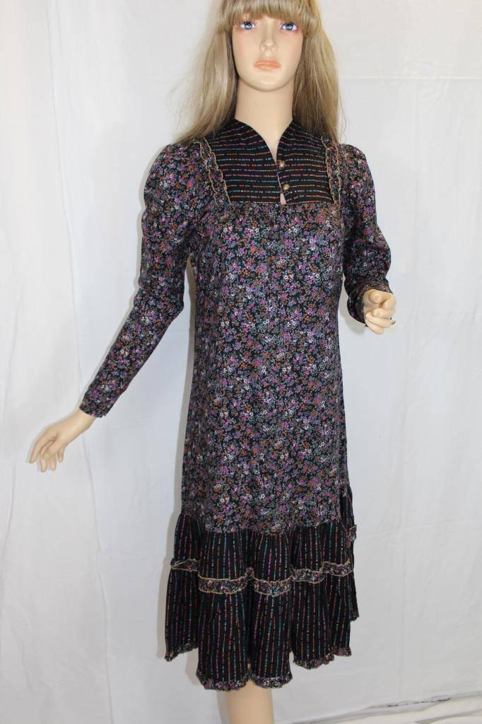 87ce4c586378 70er 70s vintage vestito s VTG Hippie Dress MIDI Gypsy Paisley FIORELLINI  Boho 36 nvtjfj4784-2019 nuovo