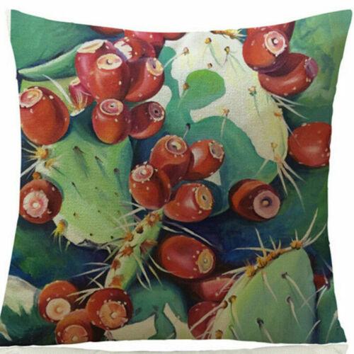 Cactus Flower Cactus Linen Pillow Case Sofa Car Throw Cushion Cover Home Decor