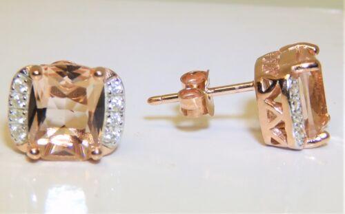 Rose Gold on 925 Solid Silver Morganite /& Diamond Ladies Stud Earrings