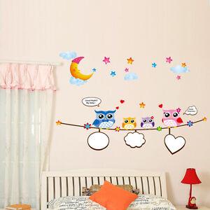 Wandtattoo-Wandsticker-Kinderzimmer-Bunte-Eulen-Fotorahmen-Aufkleber-Geschenkide
