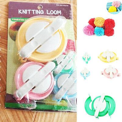 Maker Fluff Ball Pompom Needle Weaver Knitting Wool Tool DIY Craft Set 4 Sizes
