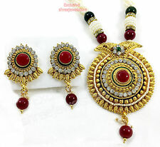Designer Gold Plated Diamond Stone Kundan Party Necklace Earring Jewellery Set