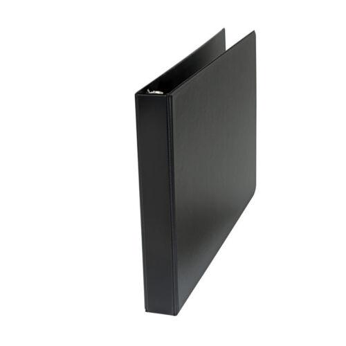 "/""Universal Wide Base Round Ring Binder W//Label Holder 1/""/"" Capacity 11x17 Black/"""