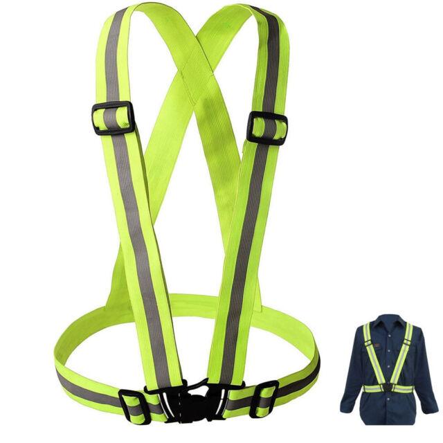 Adjustable Safety Security High Visibility Reflective Vest Stripes Belt Jacket