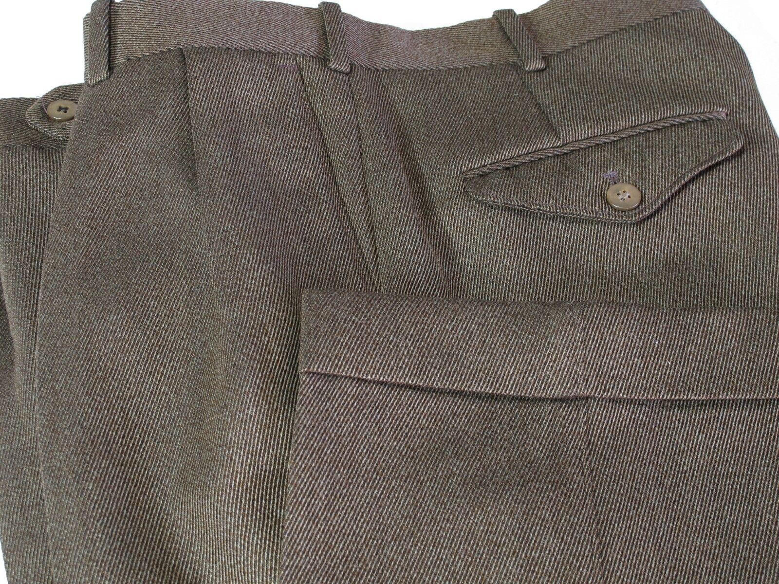 PAUL STUART Dress Pants 34 Short, Olive Brown Cogreen Twill  Wool