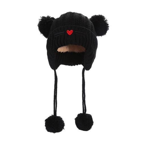 Cute Cat Double Ball Baby Plus Velvet Earmuffs Winter Keep Warm Knitted Hat S