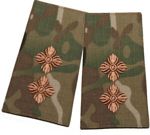 Paire-de-Multicam-Mtp-Officiel-Lieutenant-Grade-Barrettes-100-Compatible-Patch