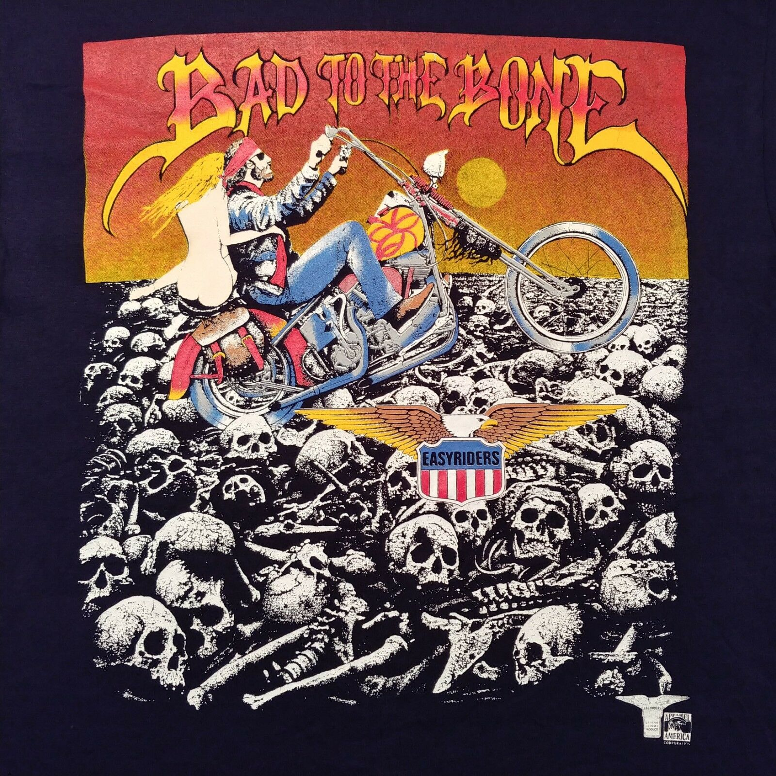 NOS 80s-90s Easyriders  BAD TO THE BONE  OLP T Shirt Sz Large Harley Davidson