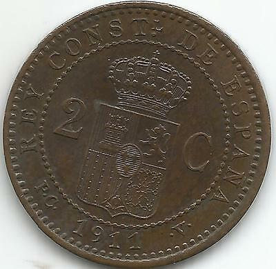 VF CONDITION 4RW 11 FEB SPAIN  2 CENTS 1912 ALFONSO XIII RARE