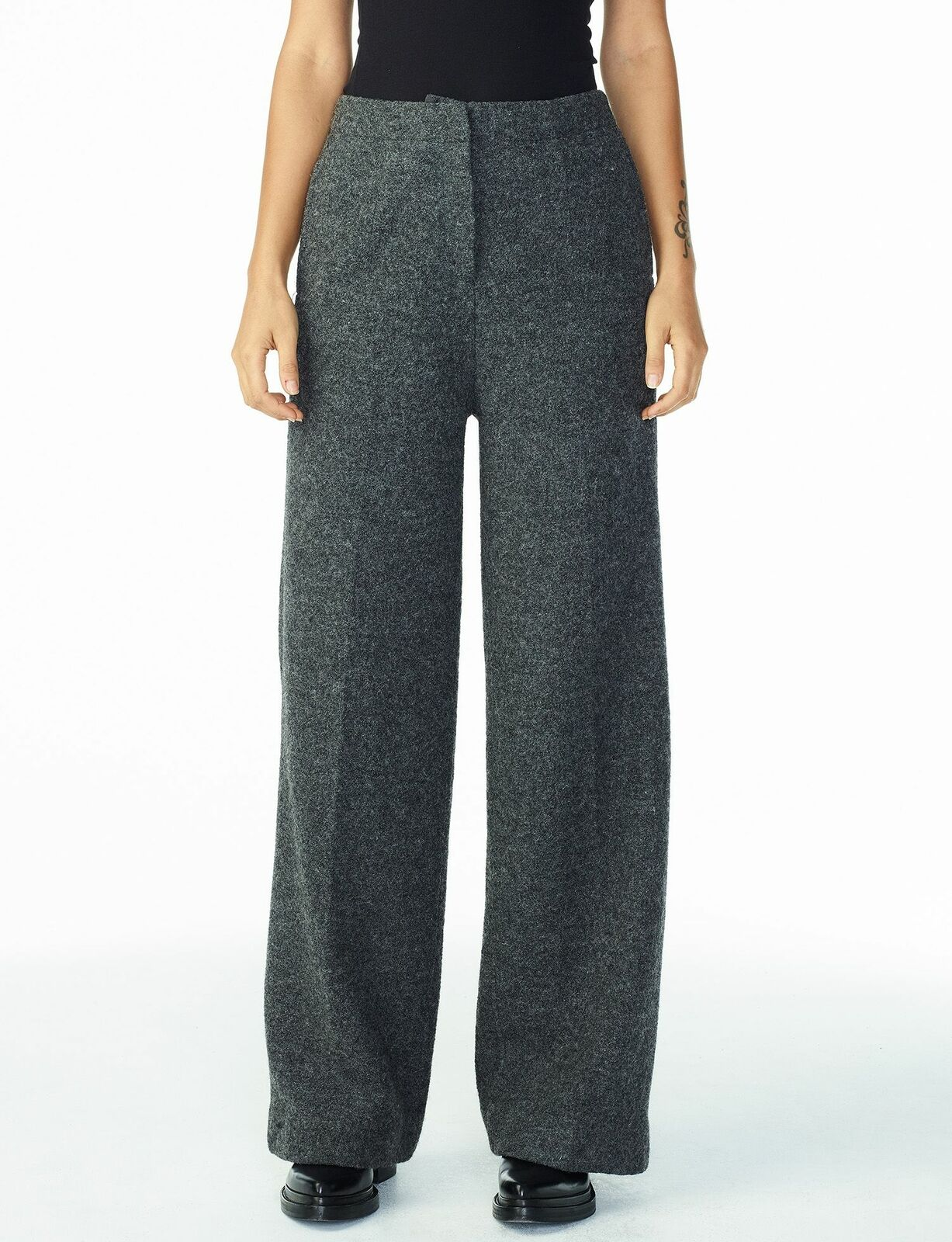 Armani Exchange Womens Boucle Flare Trouser Pants Size 8 x 32 NWT Heavy Wool A X