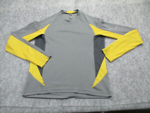 REI Shirt Mens Small Gray Yellow Long Sleeve Tee Active Camping Hiking *