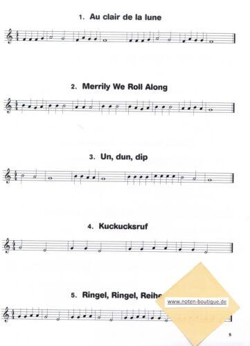 Hören Querflöte Noten lesen /& spielen 1 LIEDER SPIELBUCH  sehr leicht