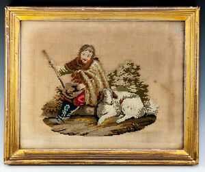Antique-Victorian-Georgian-Era-Needlepoint-Tapestry-Gold-Frame-Dog-or-Shepherd