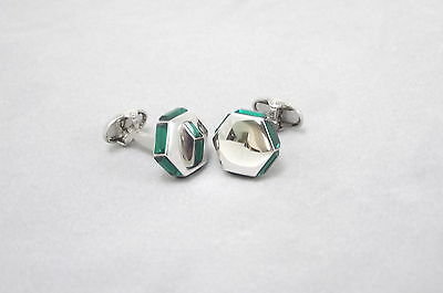 Hexagon EMERALD crystal cufflinks by Ian Flaherty, more stunning cufflinks!.