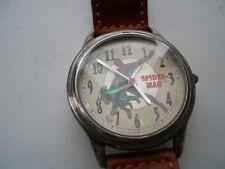 "New Fossil ""SPIDERMAN""men's brown leather,quartz,battery & Analog watch.Li-1037"