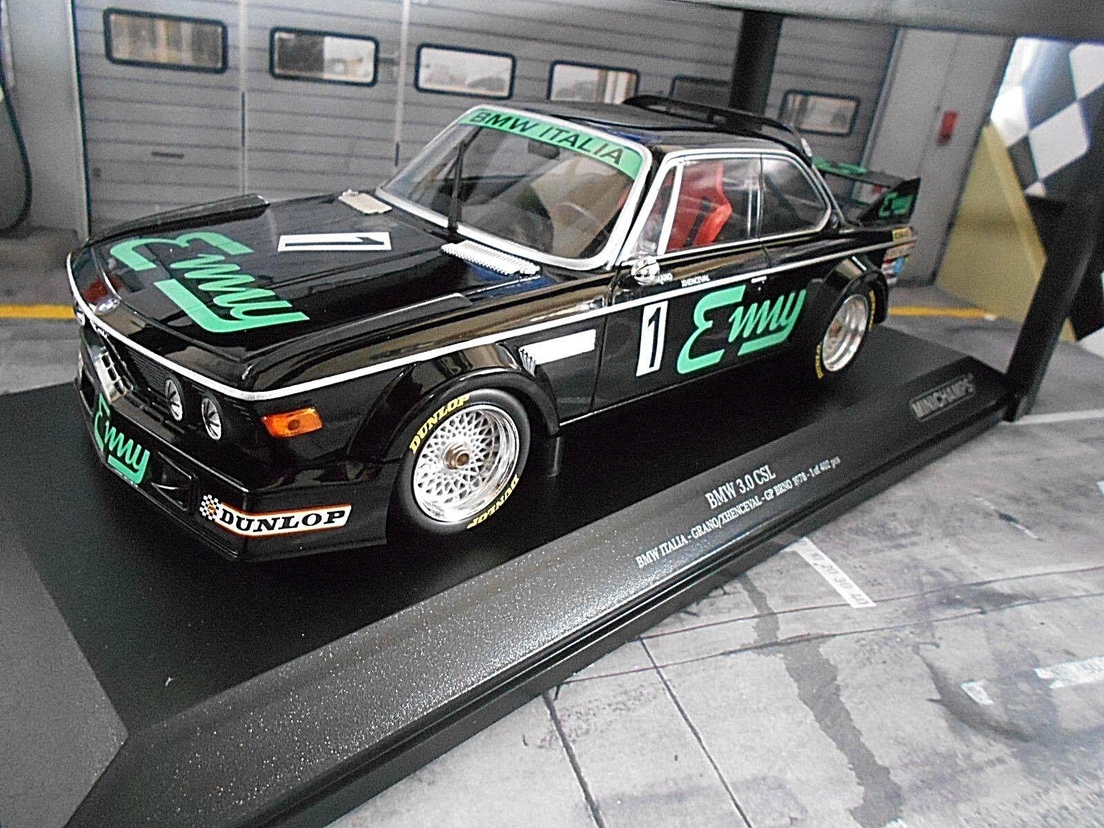 grandes ahorros Bmw Bmw Bmw 3.0 CSL talla 2 Luigi racing  1 Enny italia misit Brno 1978 win Minichamps 1 18  colores increíbles
