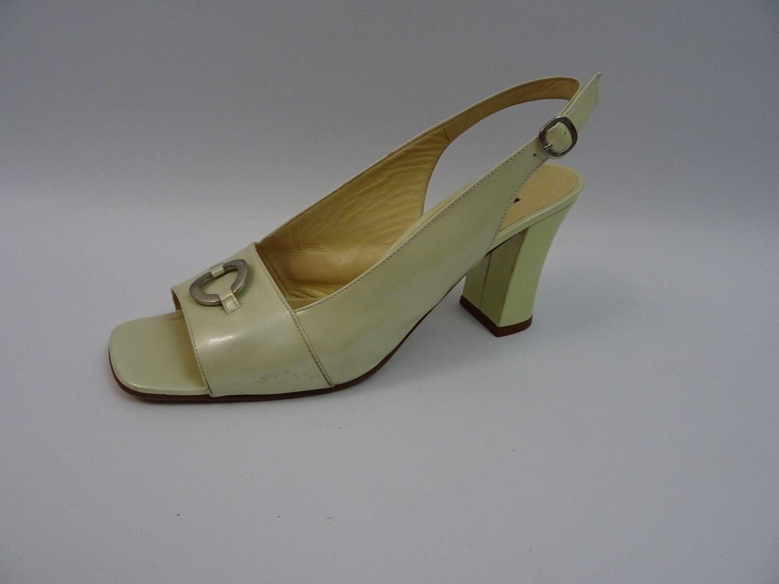 Sergio Rossi zapatos señora sandalias cómoda bloque apartado 40 amarillo claro metalizado Shoe