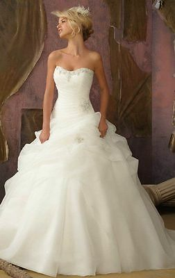 NEW Organza White/Ivory Wedding Dress Bridal Gown Stock Size 6 8 10 12 14 16