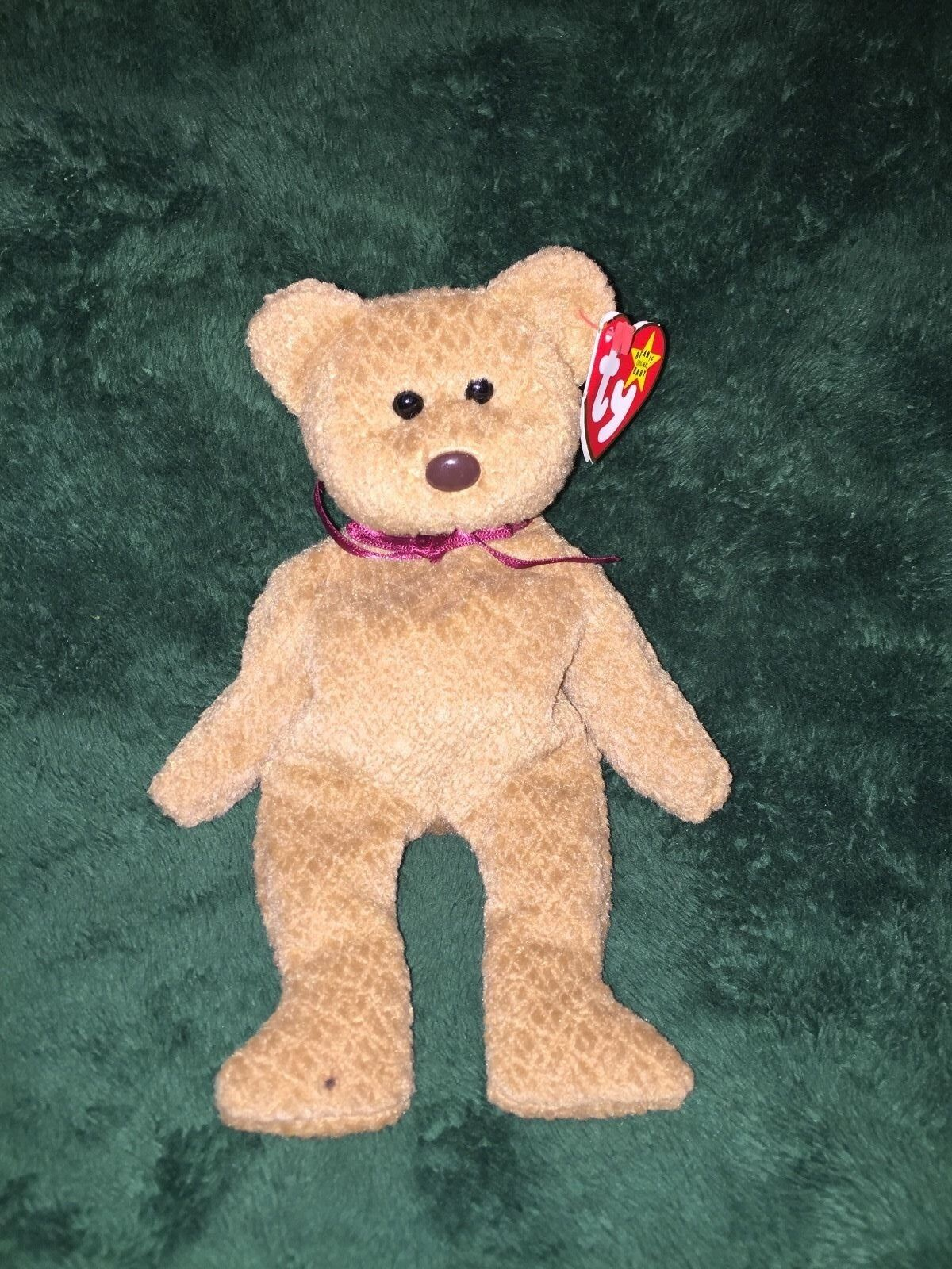 Rare     TY BEANIE BABY CURLY BEAR 1993 STYLE 4052 WITH MULTIPLE ERRORS 806752
