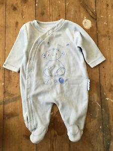 100% De Qualité John Lewis Bear Baby Grow All-in-one Sleepsuit Bleu Rayure Blanche 0-3 Mois-afficher Le Titre D'origine