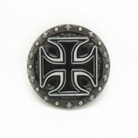 Round Black Iron Cross Maltese Belt Buckle Metal Pewter Leather Western Cowboy