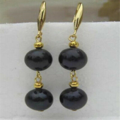 AAA 9-10mm black pearl earring 14K gold south sea earrings natural     earbob
