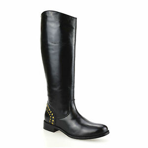 Ladies-Womens-Leather-Knee-High-Flat-Heel-Zip-Up-Biker-Riding-Boots-Shoes-Size