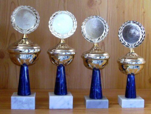 4 Trophées avec emblème et Gravure #1236 (Coupe médailles vainqueur élevage regarde sport)