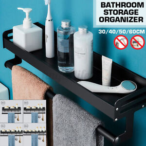 Double Wall Mounted Kitchen Bathroom Towel Rail Holder Storage Rack Shelf Bar K