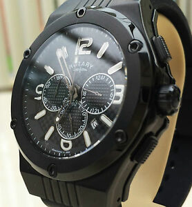 ROTARY-Mens-Watch-Black-Chronograph-Ion-Plated-Rubber-Strap-RRP-250-New-Boxed