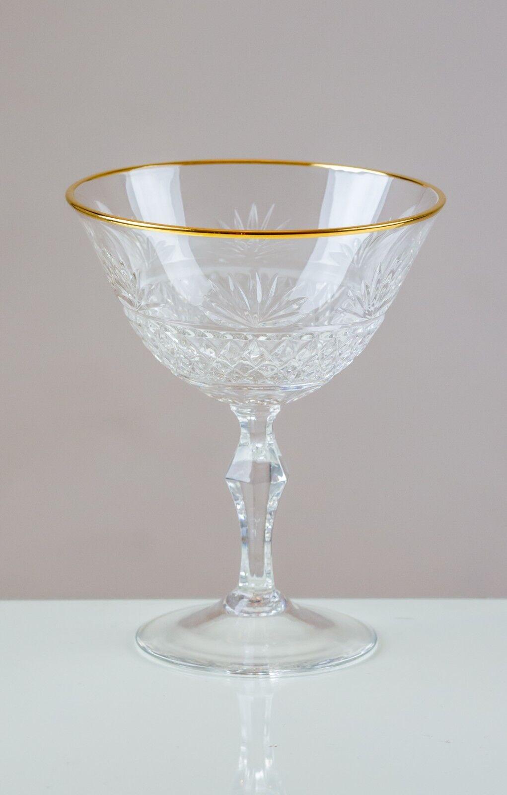 Fantail 6 oro con montura champán Coupe Platillos 24% de cristal de plomo 100% hecho a mano