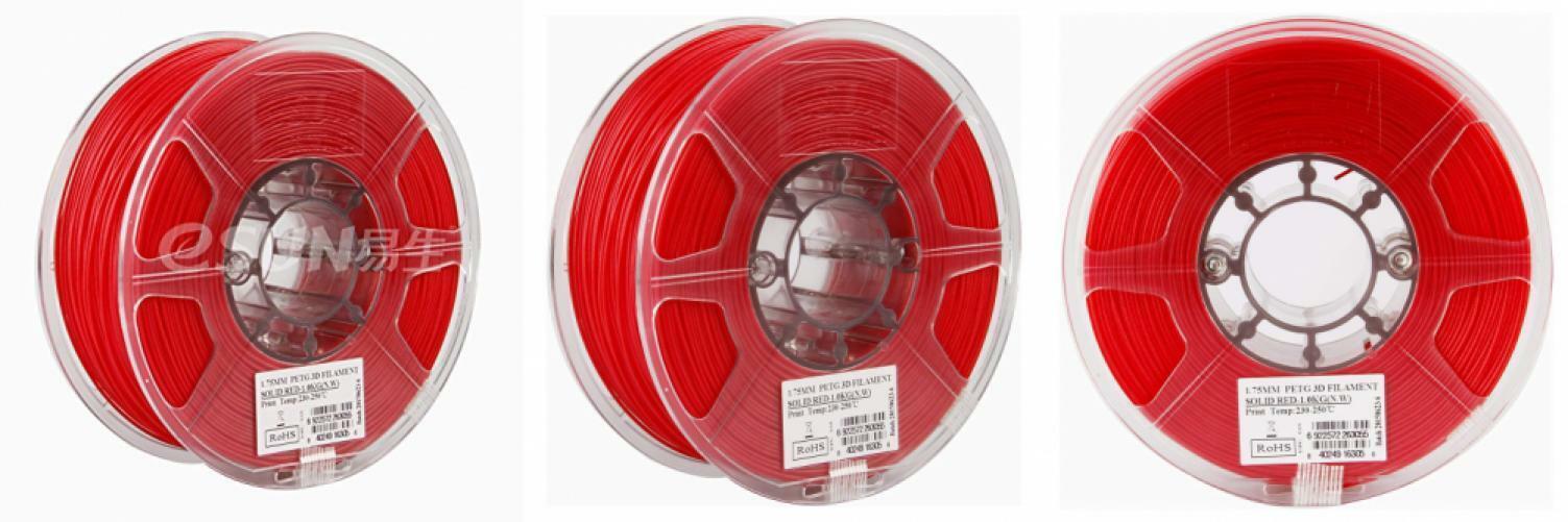 eSUN 3D 1.75mm PETG Red Filament 1kg (2.2lb), Printer Filament,...