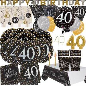 AGE-40-Happy-40th-Birthday-BLACK-amp-GOLD-SPARKLES-Party-Range-Banners-Balloons