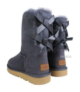 e7d42aa70ee Details about UGG Bailey Bow II Nightfall Purple Suede Fur Boots Womens  Size 7 ~NIB~