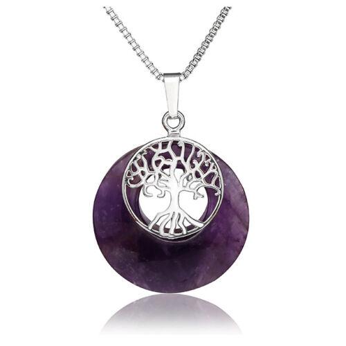 Rotatable Merkaba Star Tree of Life Crystal Gemstone Healing Pendant Necklace