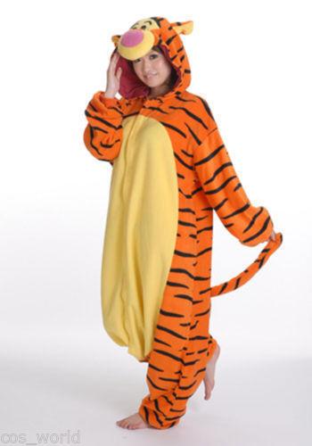 Disney Tigger Tiger Adult Romper Fleece Anime Pyjamas one piece Costume Cosplay