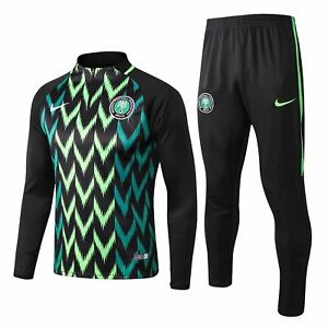 cf8e17e1 Details about Nigeria Black Mens Training Soccer Sports Jersey Jacket  Tracksuit Suit Set