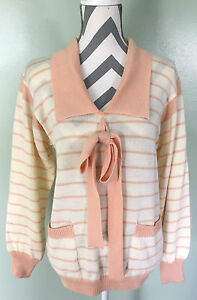 Vtg-Neiman-Marcus-Womens-Collared-Bow-White-Pink-Striped-Cardigan-Sweater-Sz-12