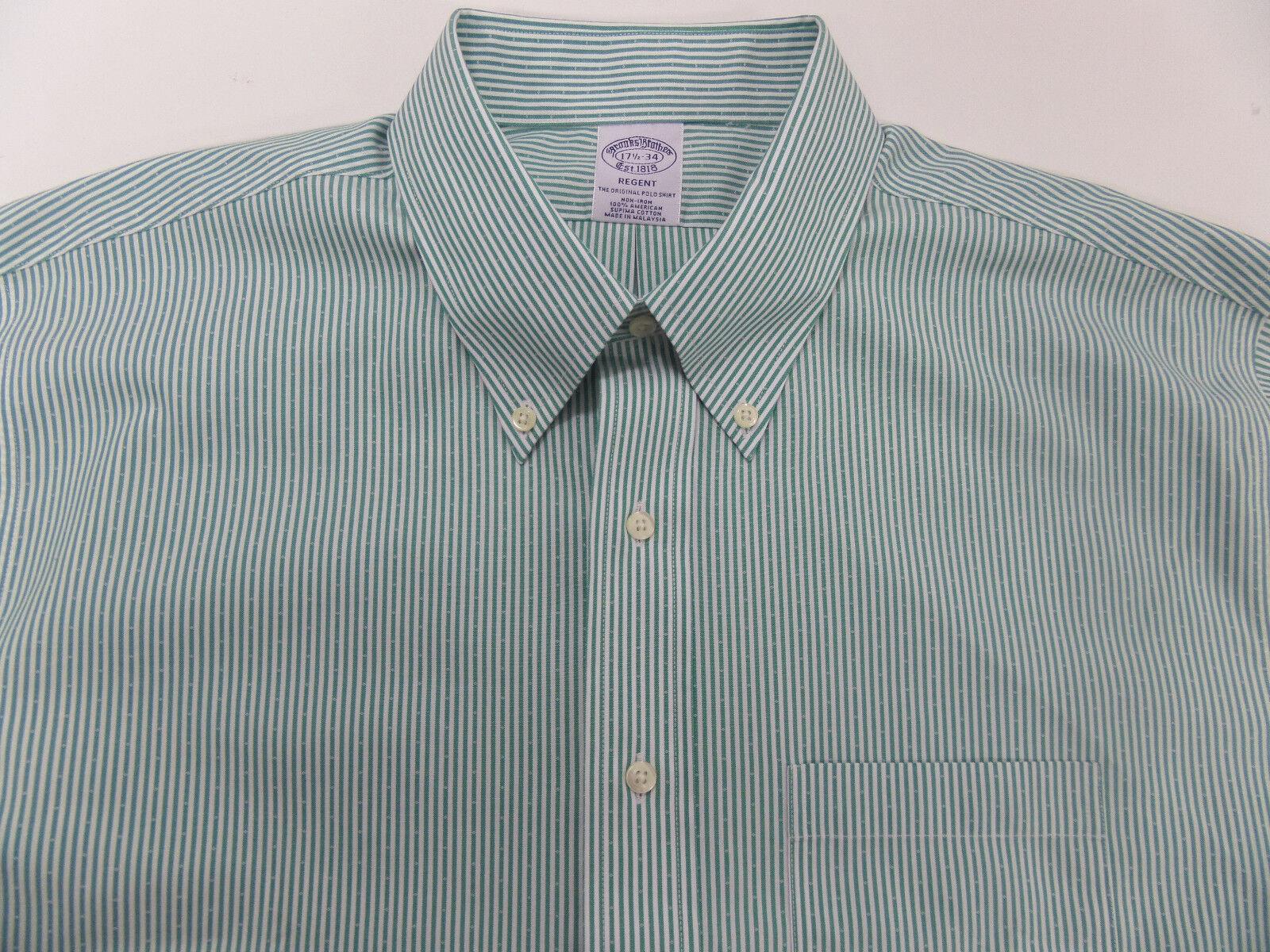 ed6d8f4d6 Brooks Bredhers Mens Green Striped Regent Regent Regent Slim Fit Shirt Size  17.5 34 Supima 09aedb