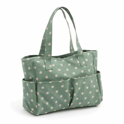 Matt PVC HobbyGift Knitting Craft Bag Moss Polka Dot Design