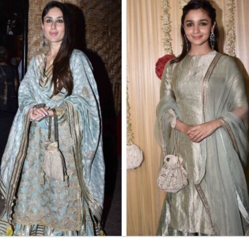 Designer Green Potli Bag Velvet Drawstring Pouch Indian Wedding Crystal Clutch