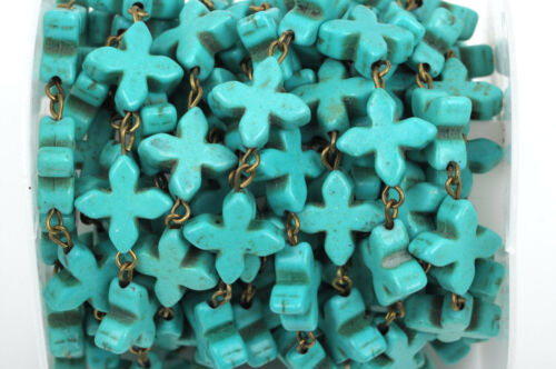 10ft TURQUOISE HOWLITE CROSS Rosary Chain, bronze, 14mm round beads fch0376