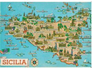 Immagini Cartina Della Sicilia.Sicilia Cartina Della Regione Particolare Ebay